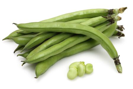 Fresh green broad beans isolated  on white background Stok Fotoğraf