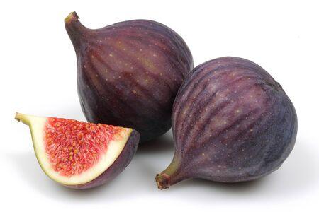 Fresh purple fig fruits isolated on white background Stok Fotoğraf