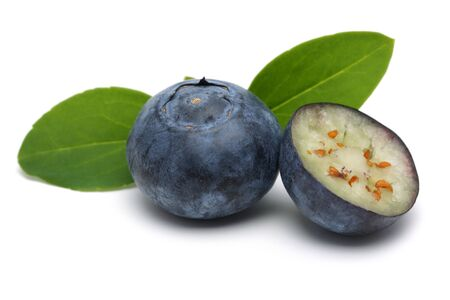 Fresh blueberries with leaves isolated on white background Stok Fotoğraf