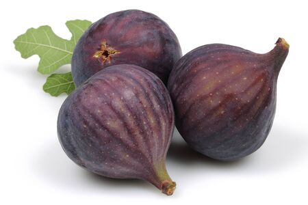 Fresh purple fig fruits isolated on white background Stok Fotoğraf
