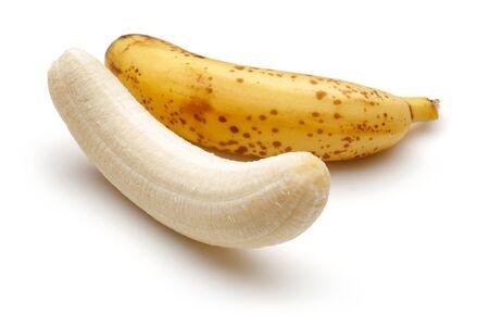 Peeled ripe bananas isolated on white background