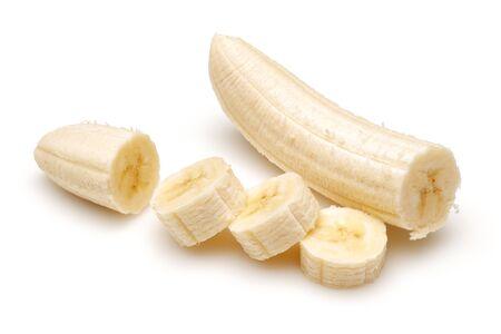 Peeled banana slices isolated on white background
