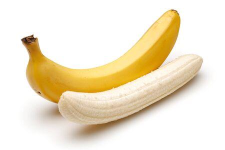 Peeled ripe bananas isolated on white background Stok Fotoğraf - 130088260