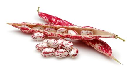 Fresh pinto beans isolated on white background