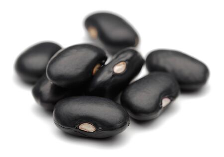 Group of black beans  isolated on white background Stok Fotoğraf - 129944623