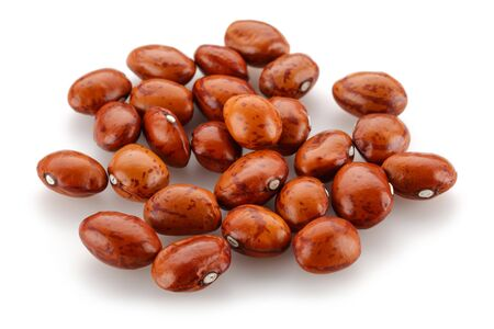Heap of red pinto beans isolated on white background