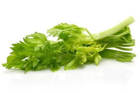 Fresh celery stalks and leaves isolated on white background Stok Fotoğraf