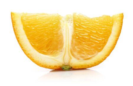 Sliced fresh orange fruit isolated on white background