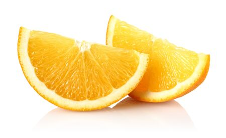 Sliced fresh orange fruit isolated on white background