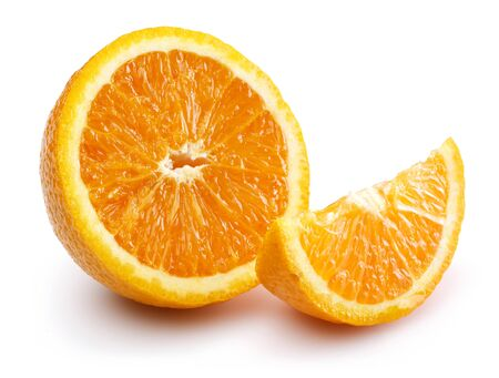 Half and slice fresh orange fruit isolated on white background Stock Photo
