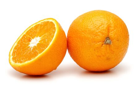 Whole and half fresh orange fruit isolated on white background Stock Photo