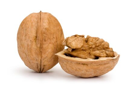 Broken walnut isolated on white background Stock Photo