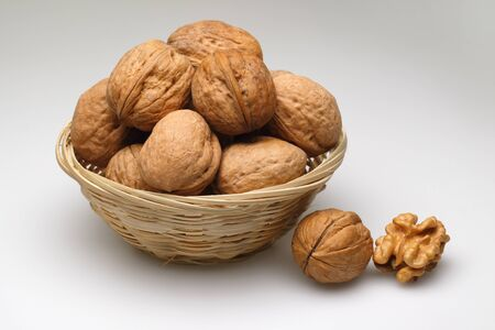 A basket of walnuts on white background