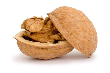 Broken walnut isolated on white background Imagens