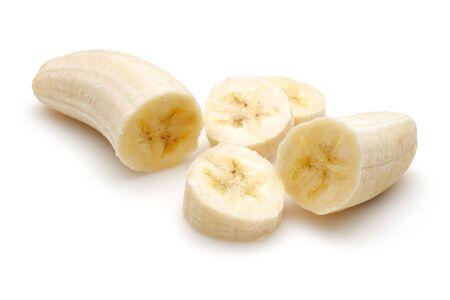 Sliced ripe banana isolated on white background Stok Fotoğraf - 130426253