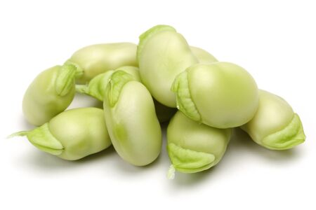 Fresh green broad beans isolated on white background Stok Fotoğraf - 130426261