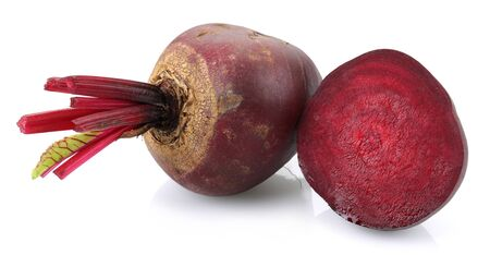 Fresh red beets isolated on white background