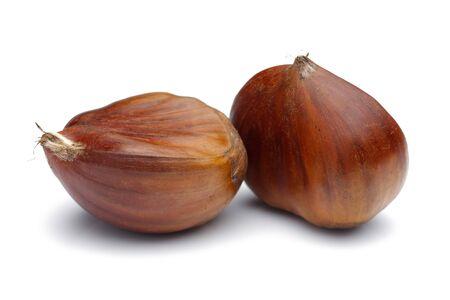 Chestnuts isolated on white background, studio shot