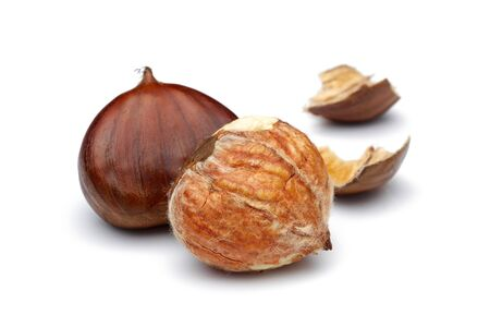 Chestnuts isolated on white background, studio shot