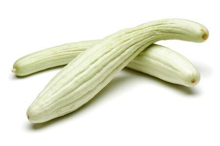 Fresh Armenian cucumbers isolated on white background Imagens