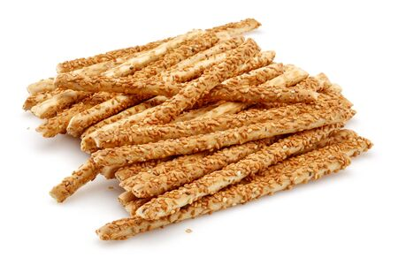 Sesame stick crackers isolated on white background Stok Fotoğraf - 130426481