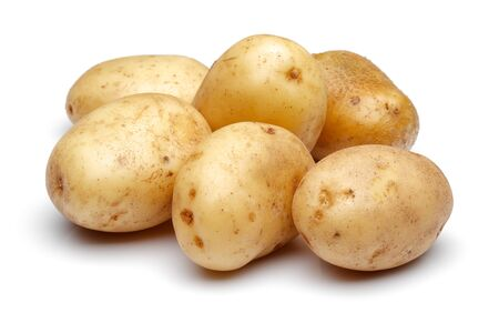 Group of fresh potatoes isolated on white background