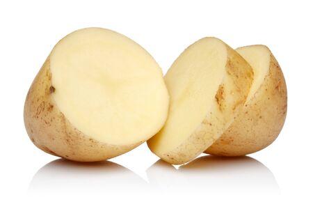 Fresh potato slices isolated on white background