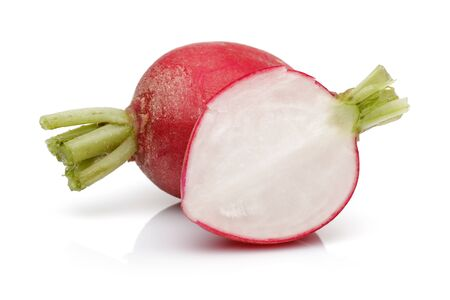 Half and whole red radish isolated on white background