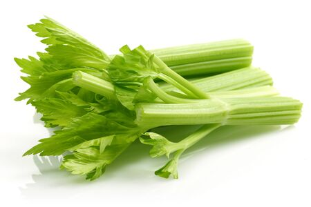 Fresh celery stalks and leaves isolated on white background Stockfoto