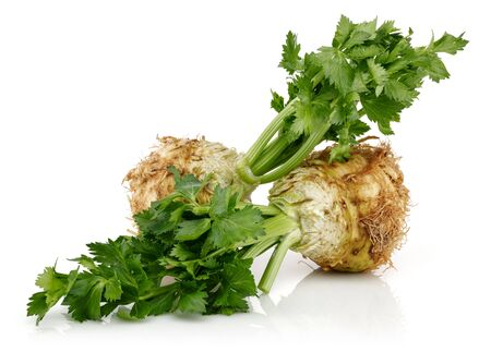 Fresh celeriac root with celery stalks isolated on white background Stok Fotoğraf