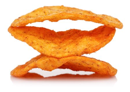 Corn chips isolated on white background