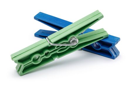 Plastic clothespin isolated on white background 版權商用圖片