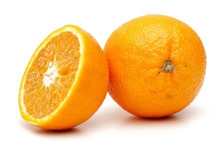 Whole and half orange fruit isolated on white background