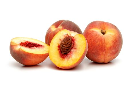 Ripe peach fruit with slice isolated on white background