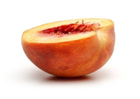 Half of peach fruit isolated on white background 版權商用圖片
