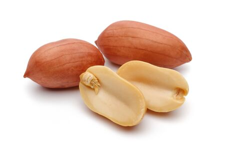 Peanuts isolated on white background, macro shot 版權商用圖片