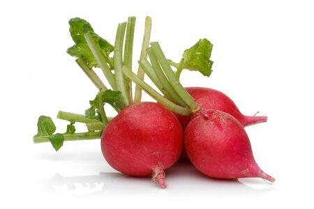 Whole red radish isolated on white background