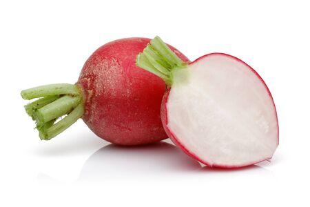 Red radish with slices isolated on white background 版權商用圖片