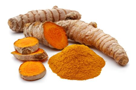 Fresh turmeric with slices and curcuma powder isolated on white background
