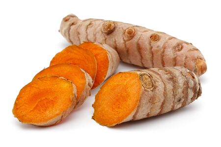 Fresh turmeric and slices isolated on white background 版權商用圖片