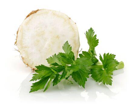 Fresh celeriac with leaf isolated on white background 版權商用圖片