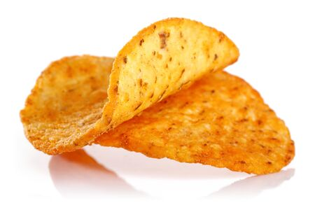 Spicy corn chips isolated on white background
