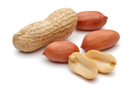 Group of peanuts isolated on white background 版權商用圖片