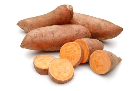 Sweet potatoes with slices isolated on white background 版權商用圖片