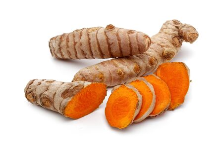 Fresh turmeric with slices isolated on white background 版權商用圖片