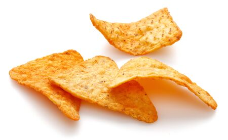 Heap of Taco Chips isolated on white background