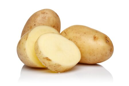Raw potatoes with slices isolated on white background