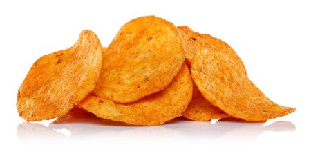 Heap of corn chips isolated on white background