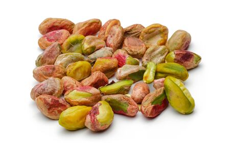 Heap of peeled pistachio nuts isolated on white background 版權商用圖片 - 141592052