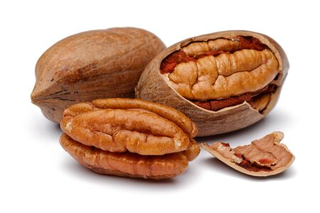 Pecan nut isolated on white background Stok Fotoğraf